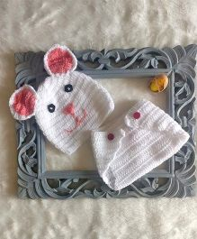 The Original Knit Bunny Crochet Photo Prop With Diaper Cover & Cap Set - White