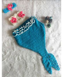 The Original Knit Mermaid Photo Prop With Cocoon Blanket & Headband - Blue