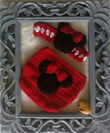 The Original Knit Cartoon Crochet Photo Prop With Diaper Cover & Headband - Red