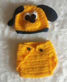 The Original Knit Dog Crochet Photo Prop With Diaper Cover & Cap Set - Yellow