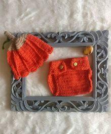 The Original Knit Pumpkin Photo Prop With Diaper Cover & Cap Set - Orange