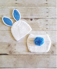 The Original Knit Bunny Crochet Photo Prop With Diaper Cover & Cap Set - White & Blue