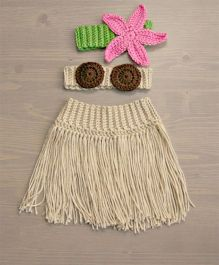The Original Knit Hula Costume Prop With Skirt Coconut Shell Top & Flower Headband - Beige