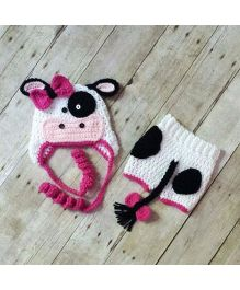 The Original Knit Cow Crochet Photo Prop With Diaper Cover & Cap Set - White & Pink