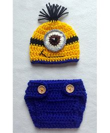 The Original Knit Cartoon Photo Prop With Diaper Cover & Cap Set - Yellow & Blue