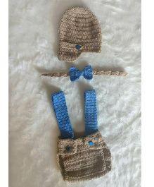 The Original Knit Crochet Photo Prop With Diaper Cover Neck Tie & Cap Set - Brown