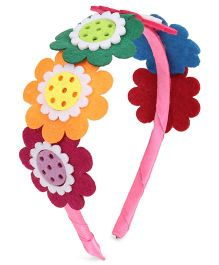Sugarcart Hair Band Sequence Of Colourful Felt Flowers - Multi