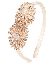 Sugarcart Leaves With Pearls On Hair Band - Golden