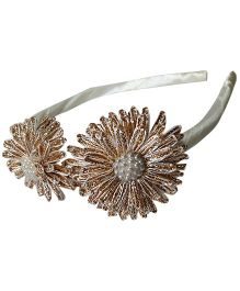 Sugarcart Ethnic Gota Work Flowers On Hair Band - Golden