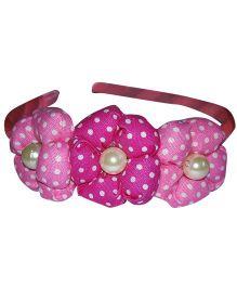 Sugarcart Three Polka Dot Ball Flower With Pearls On Hair Band - Pink
