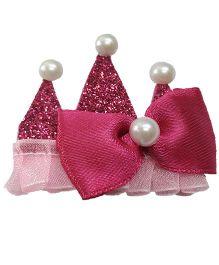 Sugarcart Princess Crown With Bow & Studs On Aligator Clip - Fushia Pink