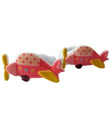 Sugarcart Set Of 2 Cute Aeroplane Rubber Band - Dark Pink