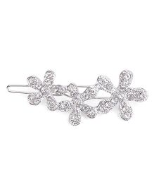 Flaunt Chic Three Flowers Hair Clip - Silver