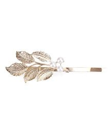 Flaunt Chic Pearl And Leaves Hair Clip - Gold