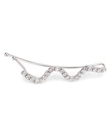 Flaunt Chic Crystal Wave Hair Clip - Silver
