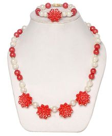 Daizy Pearl Mala With Flower And Bracelet - White And Red
