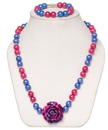 Daizy Pearl Mala With Flower And Bracelet - Blue And Pink