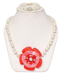 Daizy Pearl Mala With Bracelet - White And Red