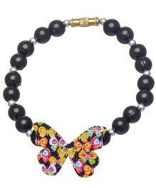 Daizy Pearl & Butterfly Bracelet - Black