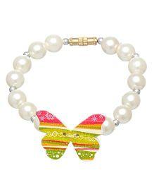 Daizy Pearl & Butterfly Bracelet - White