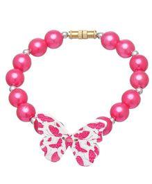 Daizy Pearl & Butterfly Bracelet - Hot Pink