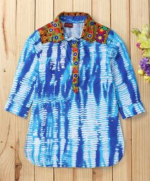 Twisha Embroidered Shirt Style Kurta With Embroidery - Blue