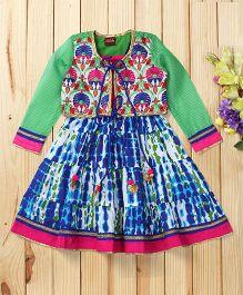 Twisha Embroidered Shrug With Ethnic Dress - Blue & Green