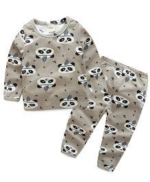 Funtoosh Kidswear T-Shirt And Bottom Set Panda Print - Grey