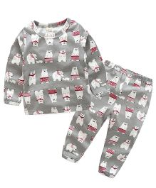 Funtoosh Kidswear T-Shirt And Bottom Set Bear Print - Grey