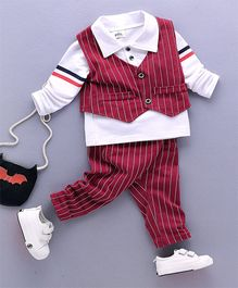 Funtoosh Kidswear Stripe Waist Coat Pant & Shirt Set - Red & White