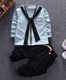 Funtoosh Kidswear Scarf T-Shirt & Bottom Set - Sea Green & Black
