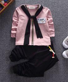 Funtoosh Kidswear Scarf T-Shirt & Bottom Set - Pink & Black