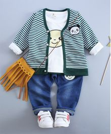 Funtoosh Kidswear Stripe Jacket With Printed T-Shirt & Bottom Set - Green & Blue
