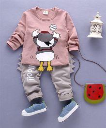 Funtoosh Kidswear Duck Printed T-Shirt & Bottom Set - Peach & Beige
