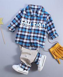 Funtoosh Kidswear Plaided Shirt & Bottom Set - Blue & Cream