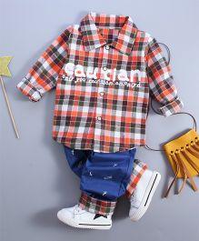 Funtoosh Kidswear Plaided Shirt & Bottom Set - Yellow & Blue