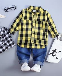 Funtoosh Kidswear Plaid Shirt & Bottom Set - Yellow & Blue