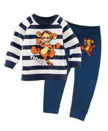 Funtoosh Kidswear Tiger Print T-Shirt & Bottom Set - Blue & White