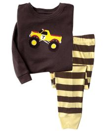 Funtoosh Kidswear Car Print T-Shirt & Stripe Bottom Set - Brown & Yellow