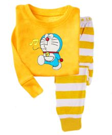 Funtoosh Kidswear Cartoon Print T-Shirt & Stripe Bottom Set - Yellow & White