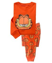 Funtoosh Kidswear Cartoon Print T-Shirt & Bottom Set - Orange