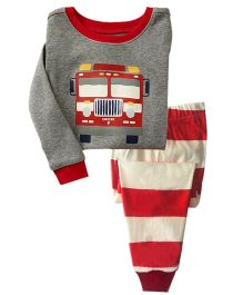 Funtoosh Kidswear Bus Print T-Shirt & Stripe Bottom Set - Red & Grey