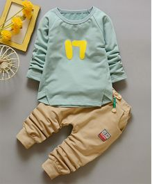 Funtoosh Kidswear Printed T-Shirt & Bottom Set - Sea Green & Beige
