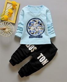 Funtoosh Kidswear Round Print T-Shirt & Bottom Set - Blue & Black