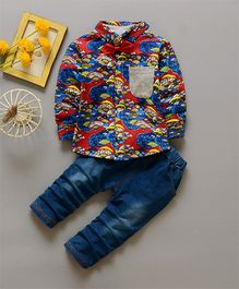Funtoosh Kidswear Printed Shirt & Bottom Set - Red & Blue
