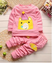 Funtoosh Kidswear Bunny Print T-Shirt & Bottom Set - Pink