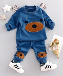 Funtoosh Kidswear Puppy Patch T-Shirt & Bottom Set - Blue