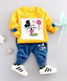 Funtoosh Kidswear Cartoon Print T-Shirt & Bottom Set - Yellow & Blue