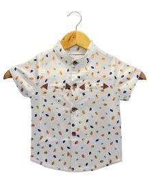 Funtoosh Kidswear Petal Print Shirt - White & Multicolor
