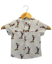 Funtoosh Kidswear Cartoon Print Shirt - White & Multicolor